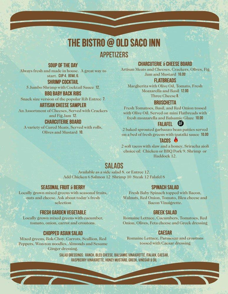 Old Saco Inn Spring Menu for Thursday - Saturday