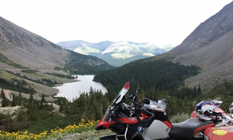 motorcycle in the mountains