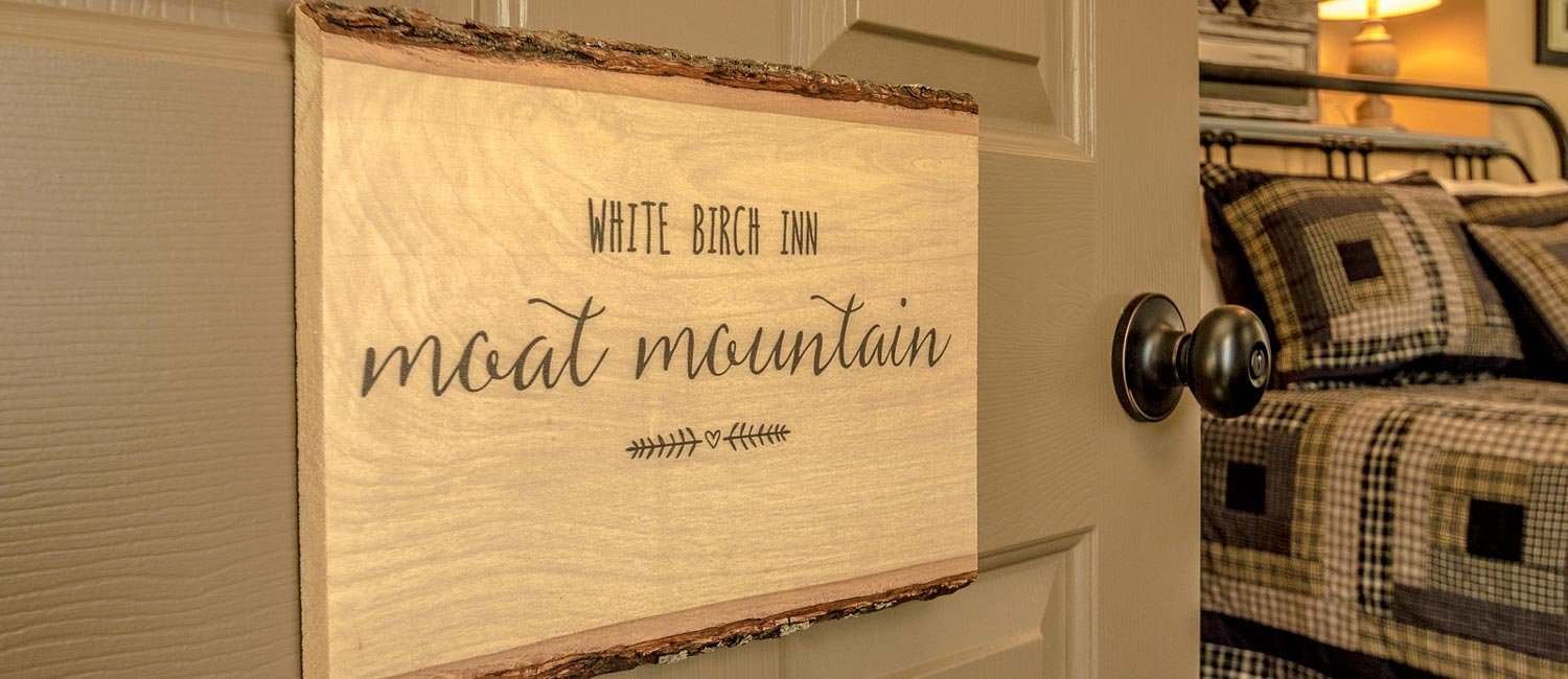 Sign on a door labelling the Moat Mountain Room