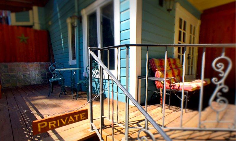 Iron railing along porch deck