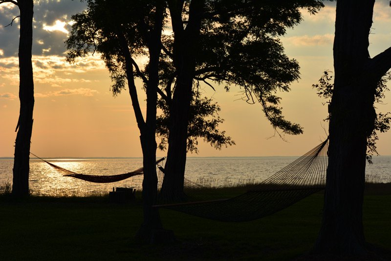 Black Walnut Point Inn Hammocks at sunset