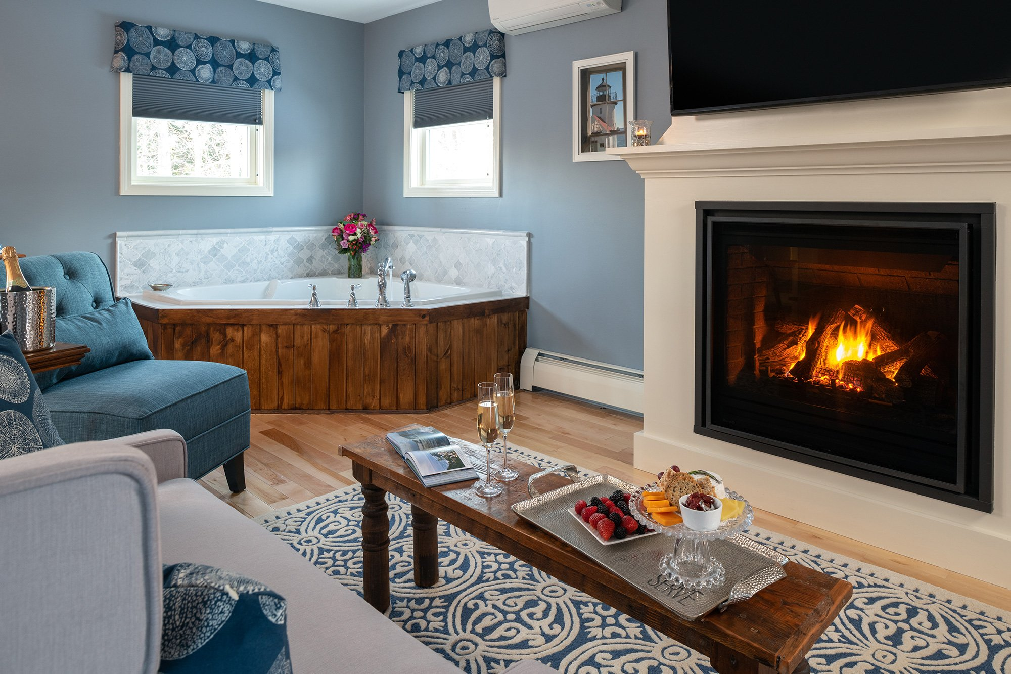 fireplace and tub