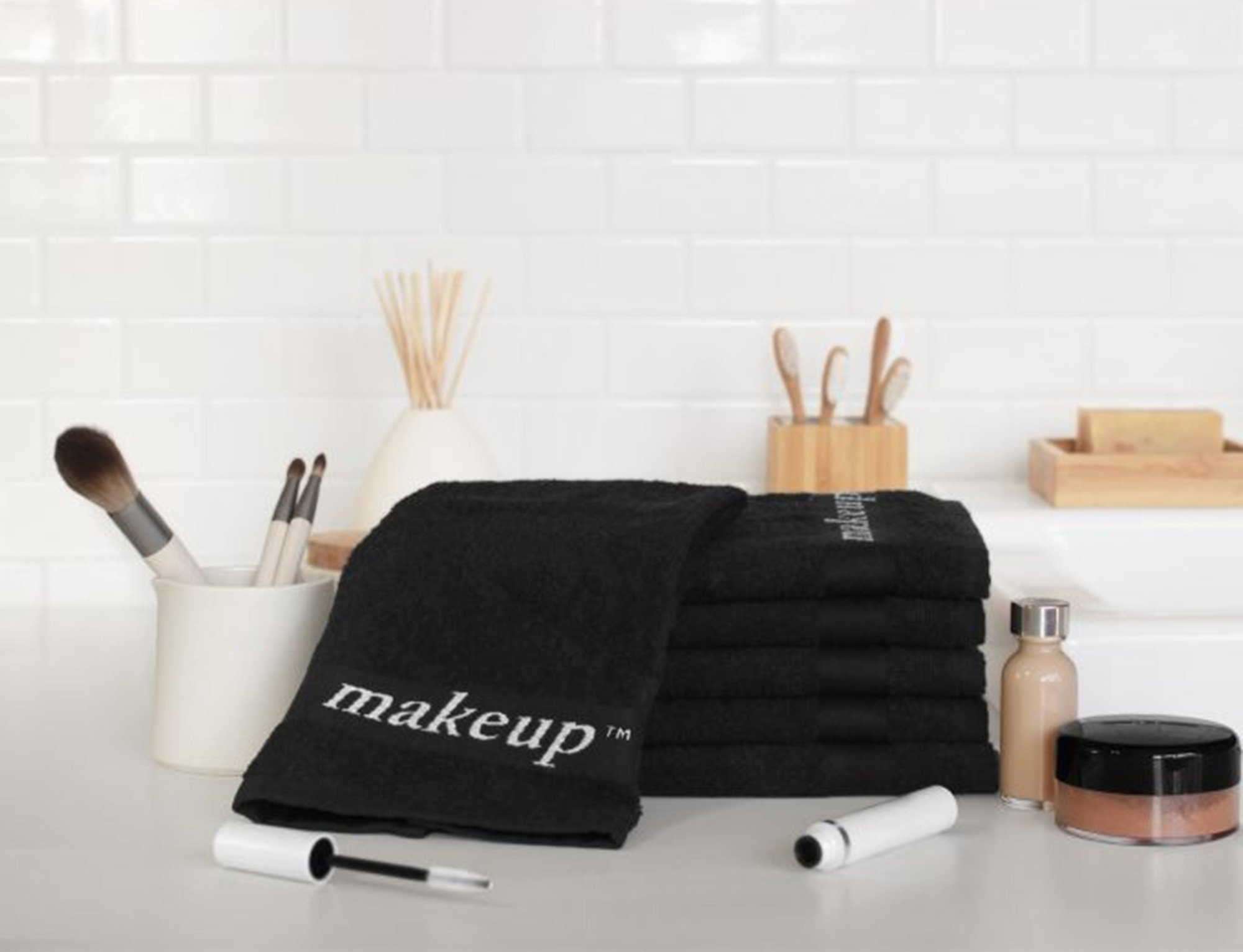black makeup removing washclothes