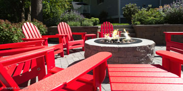 fire pit with deck chairs