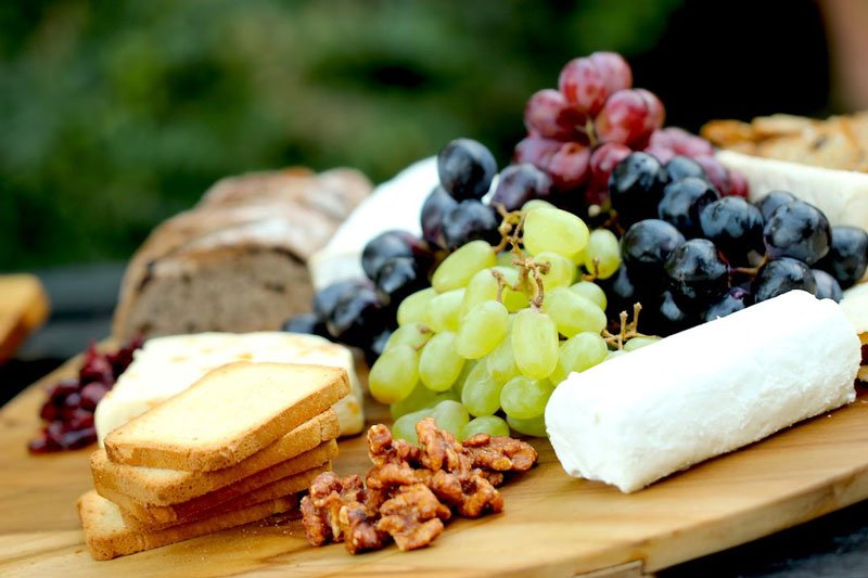 Cheese nuts and grapes tray