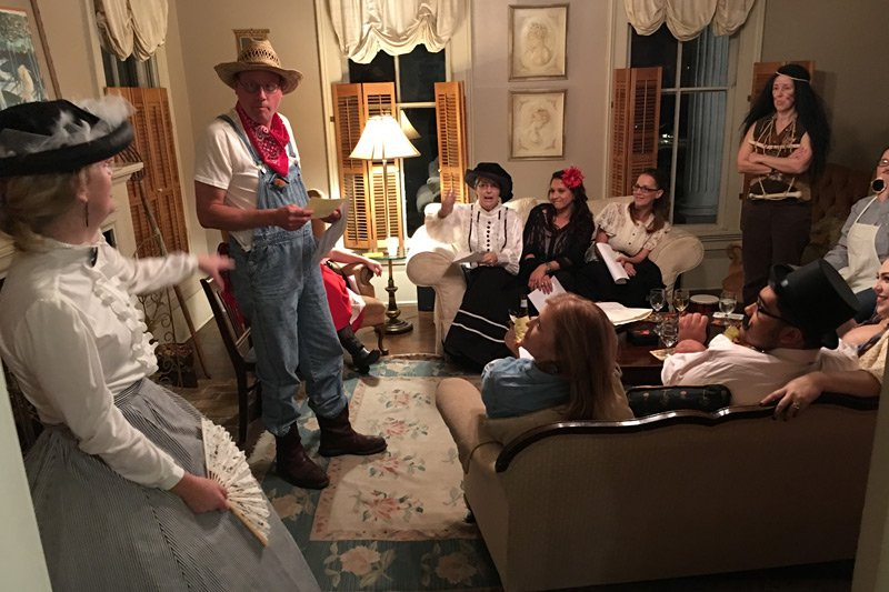 murder mystery group in the living room
