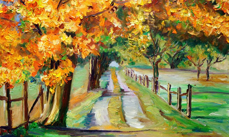 painting of trees and road