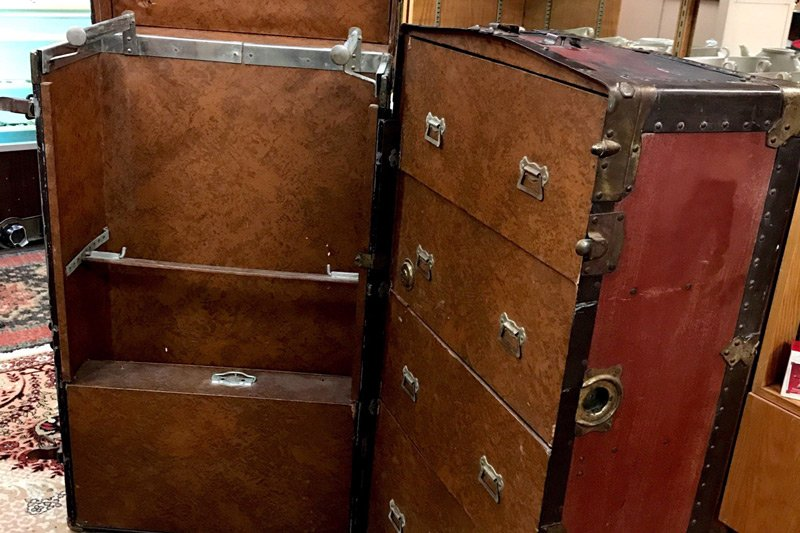 open steamer trunk