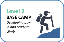 Level 2, Base Camp: Developing buy-in and ready to climb