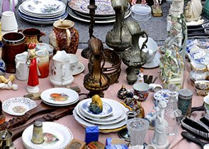 Antiques wares laid out on a rug