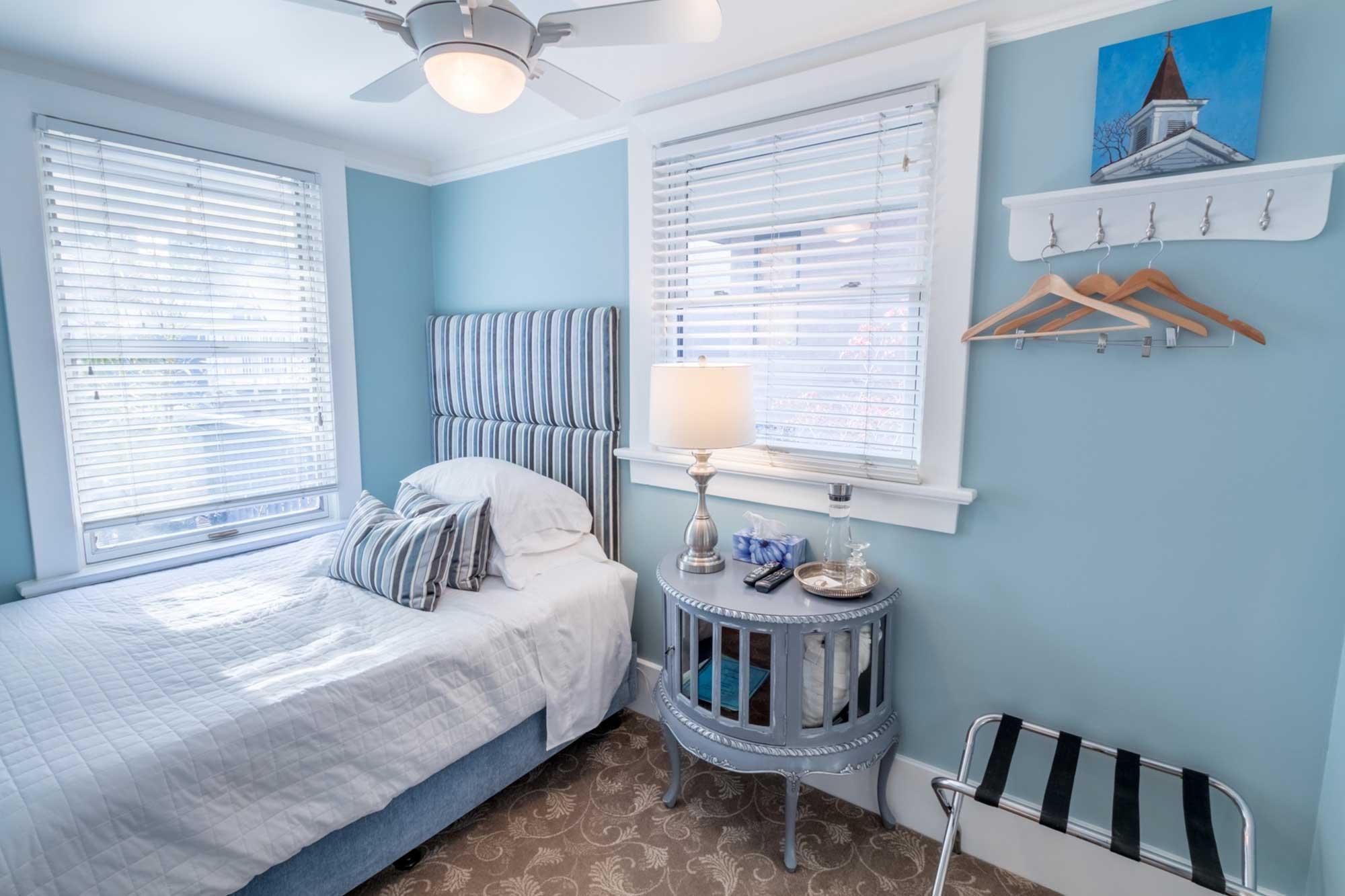 blue-themed bedroom