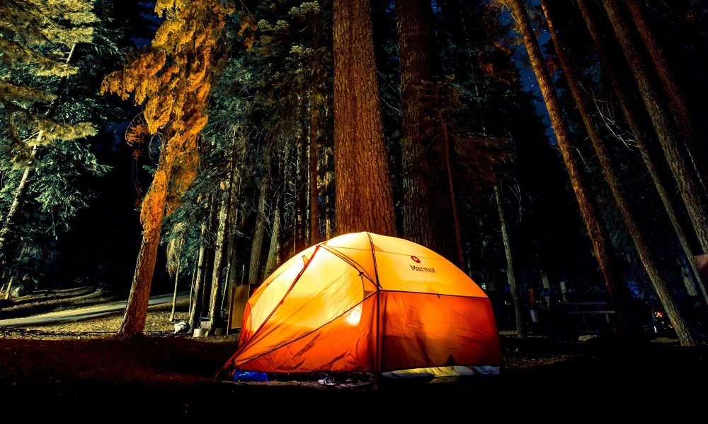 A tent in the woods