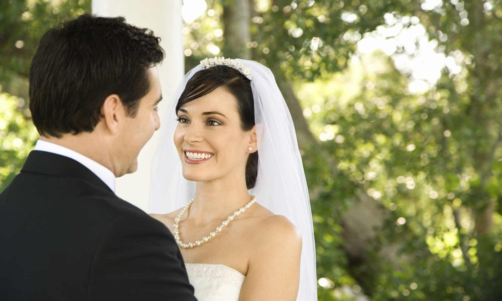 A couple in wedding clothes