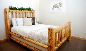 One Log Framed Bed With Night Stand And Lamp