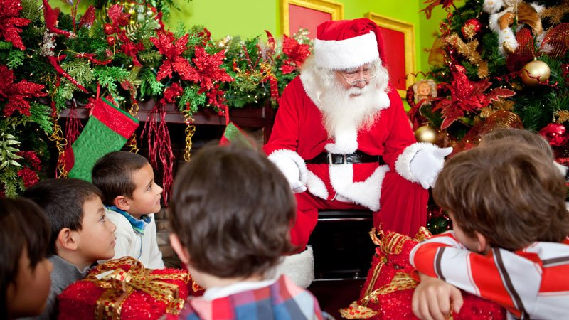 Santa talking to children