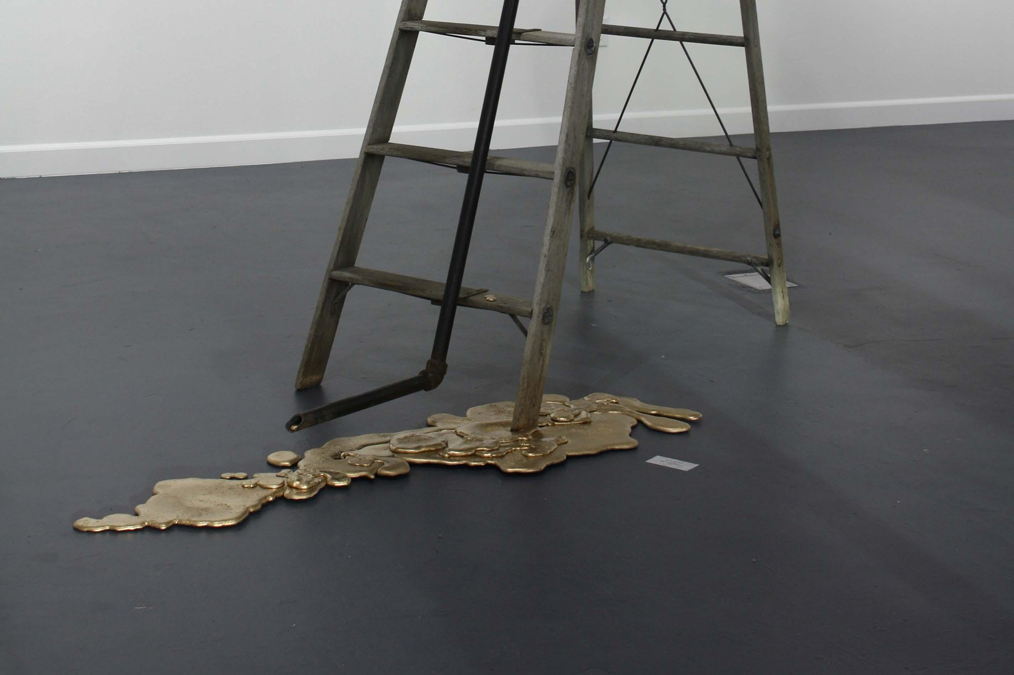 mixed media art of ladder with spilled paint