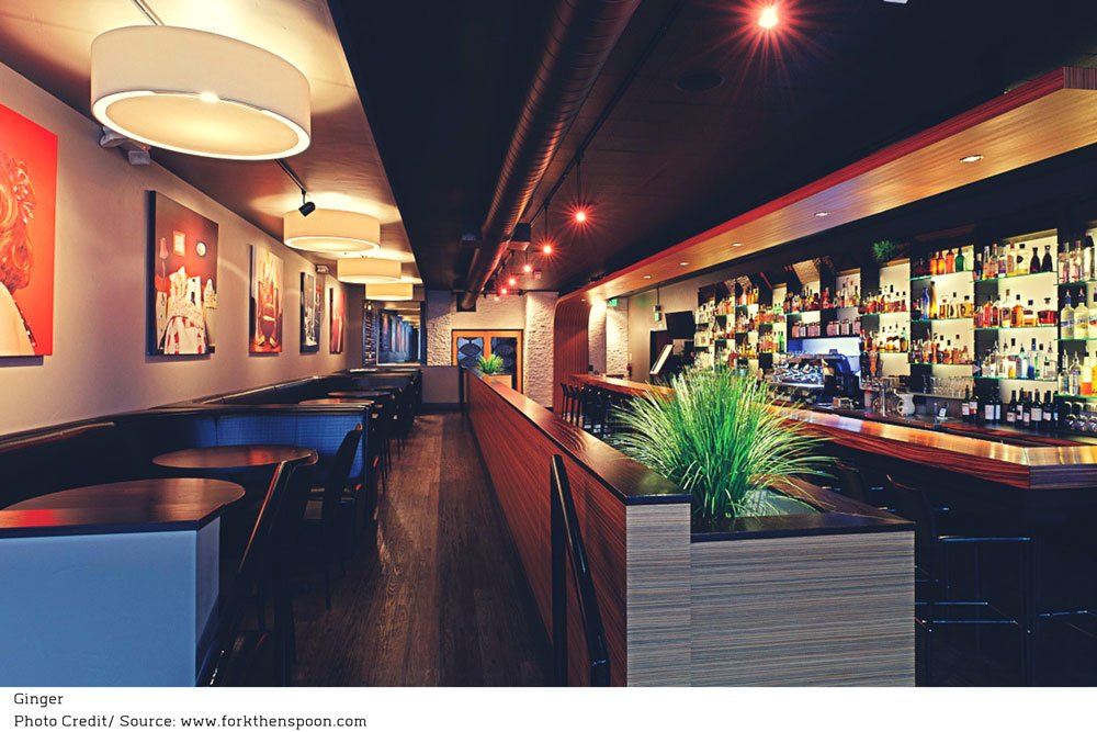 wood accents and mood lighting surrounding the bar