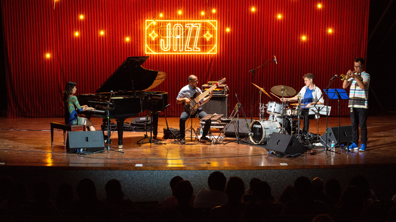 a jazz quartet playing onstage