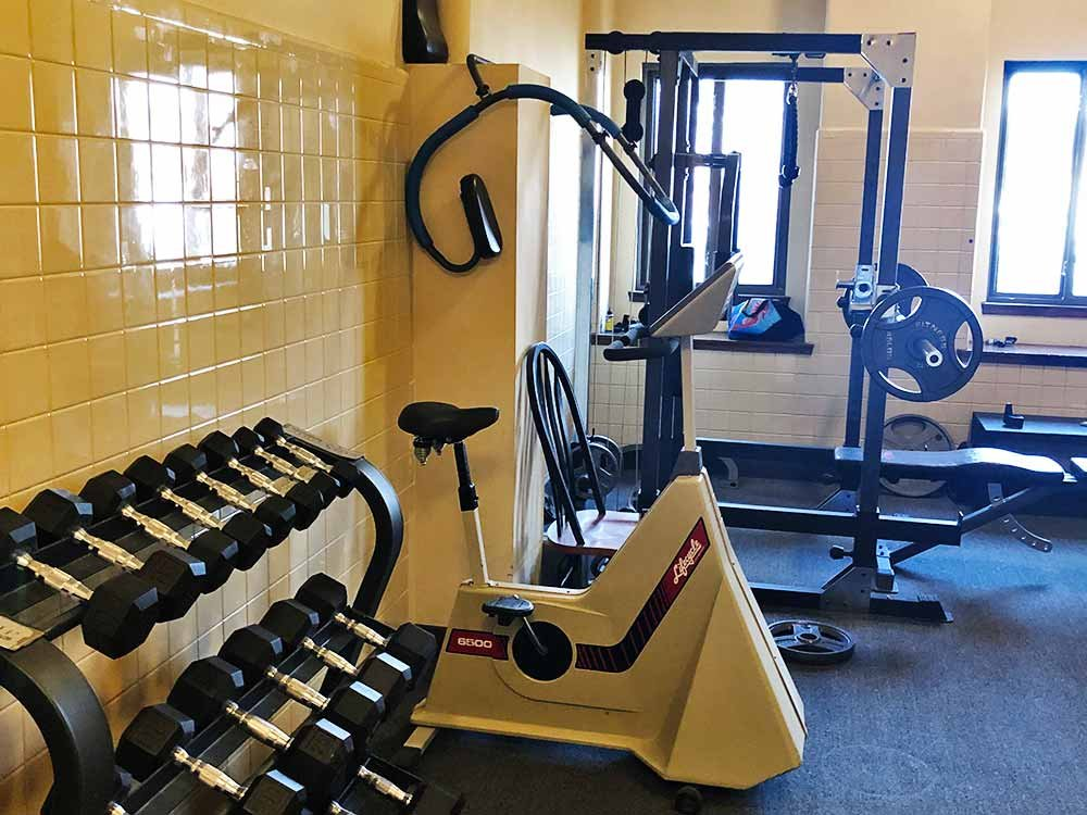 Weights and Equipment in Workout Room