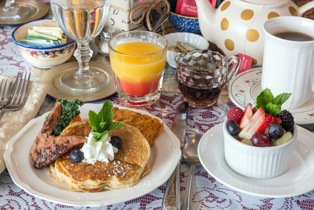 blueberry buttermilk pancakes table setting | The Inn at 410, Historic Downtown District Flagstaff, AZ