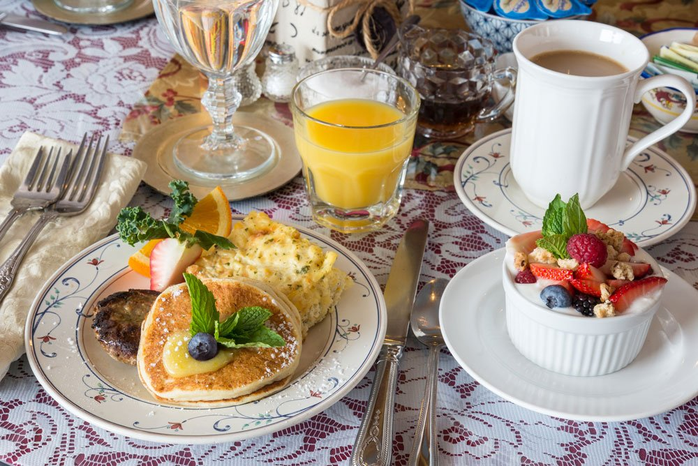 Lemon Ricotta Pancakes table setting   The Inn at 410, Historic Downtown District Flagstaff, AZ