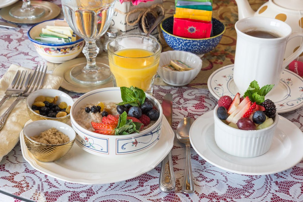 Breakfast Oatmeal table setting | The Inn at 410, Historic Downtown District Flagstaff, AZ