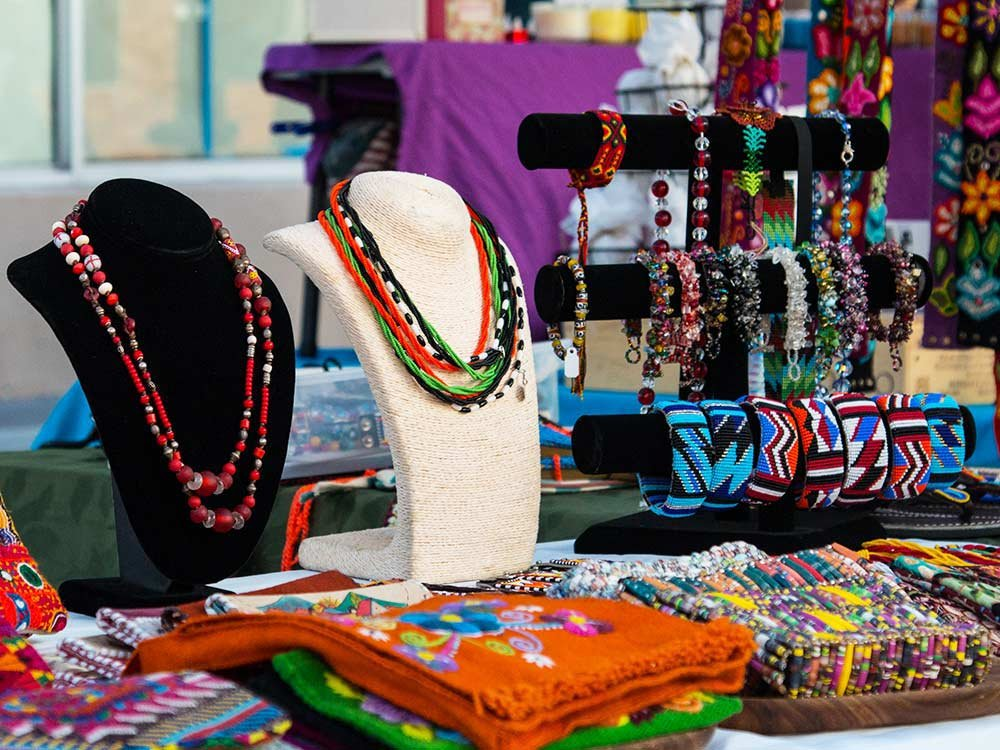 Beaded jewelry on a stand
