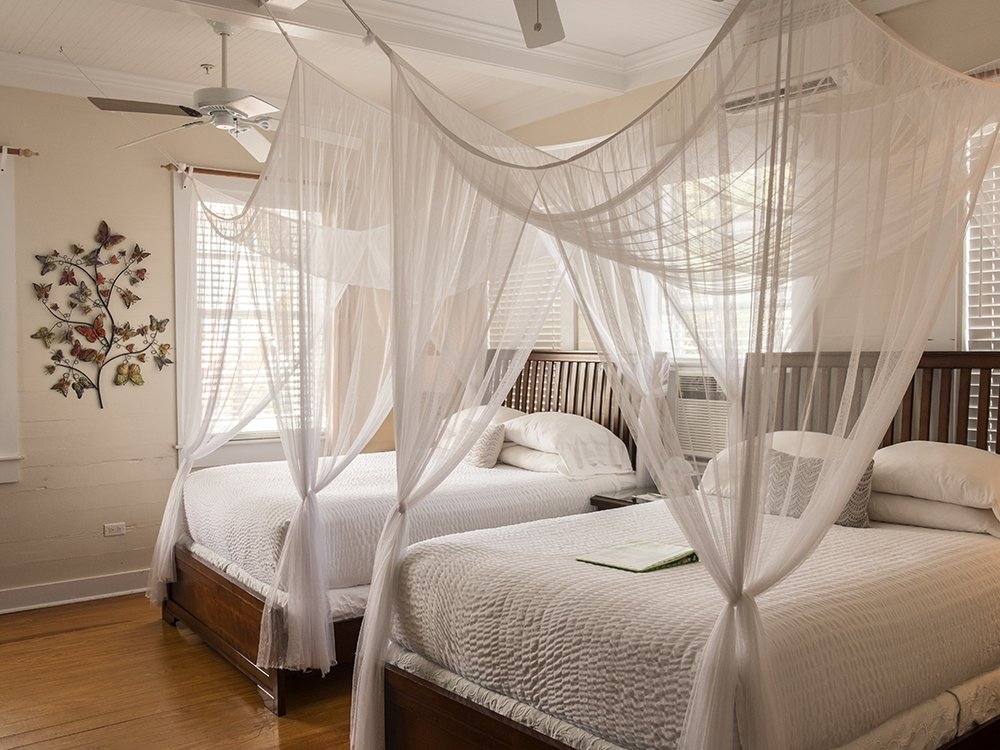 two beds with canopies