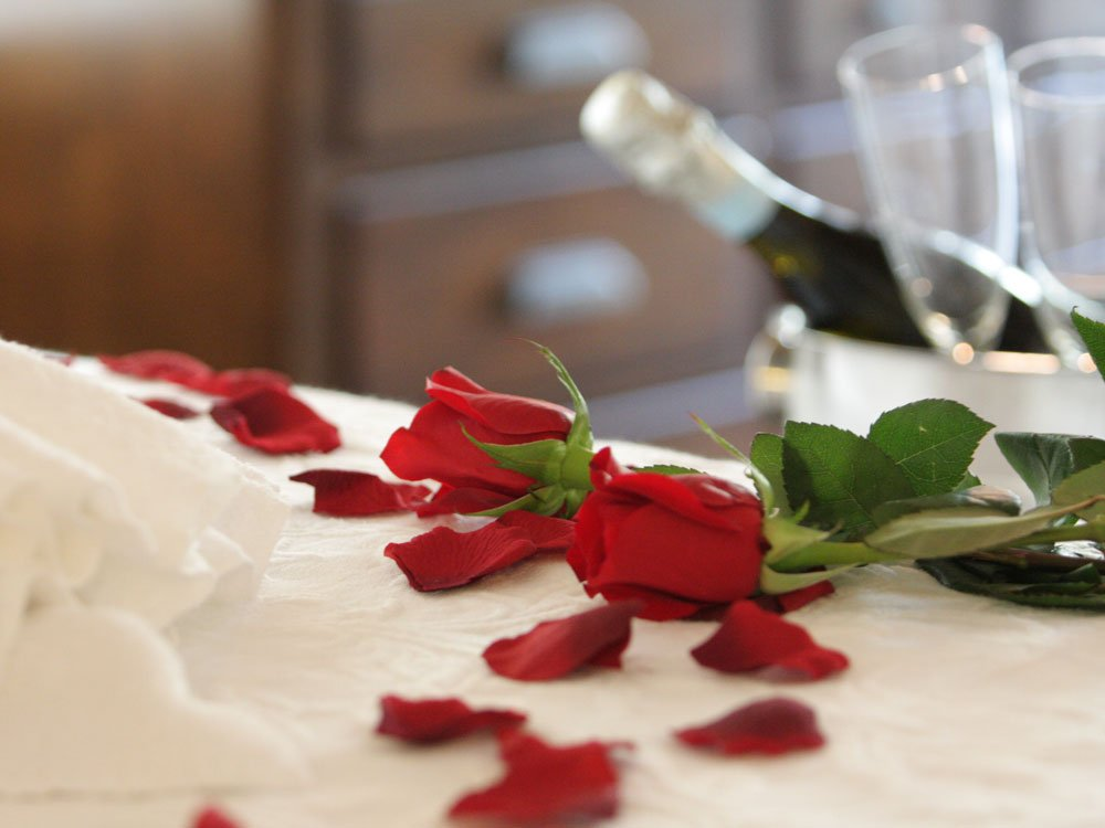 roses petals on bed with wine in background