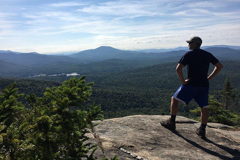 hiker on rocks
