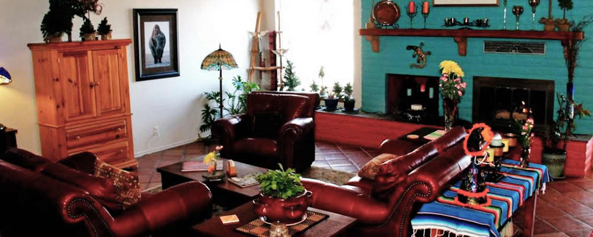 Great Room Couches and Fireplace