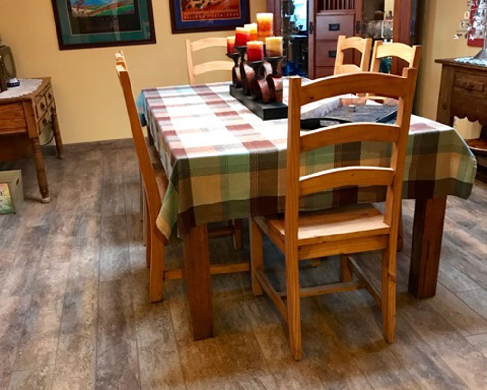 Dining table with table cloth