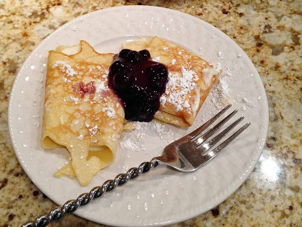 Crepes with Blueberry Topping