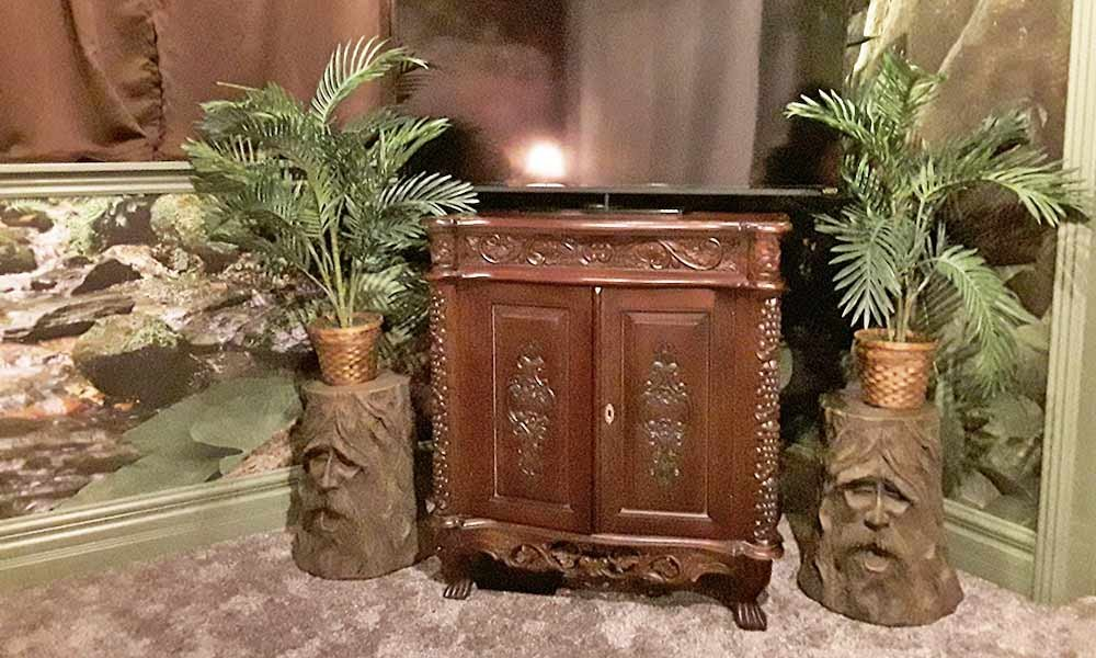dresser with decor