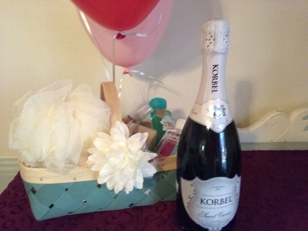 Champagne and goody basket
