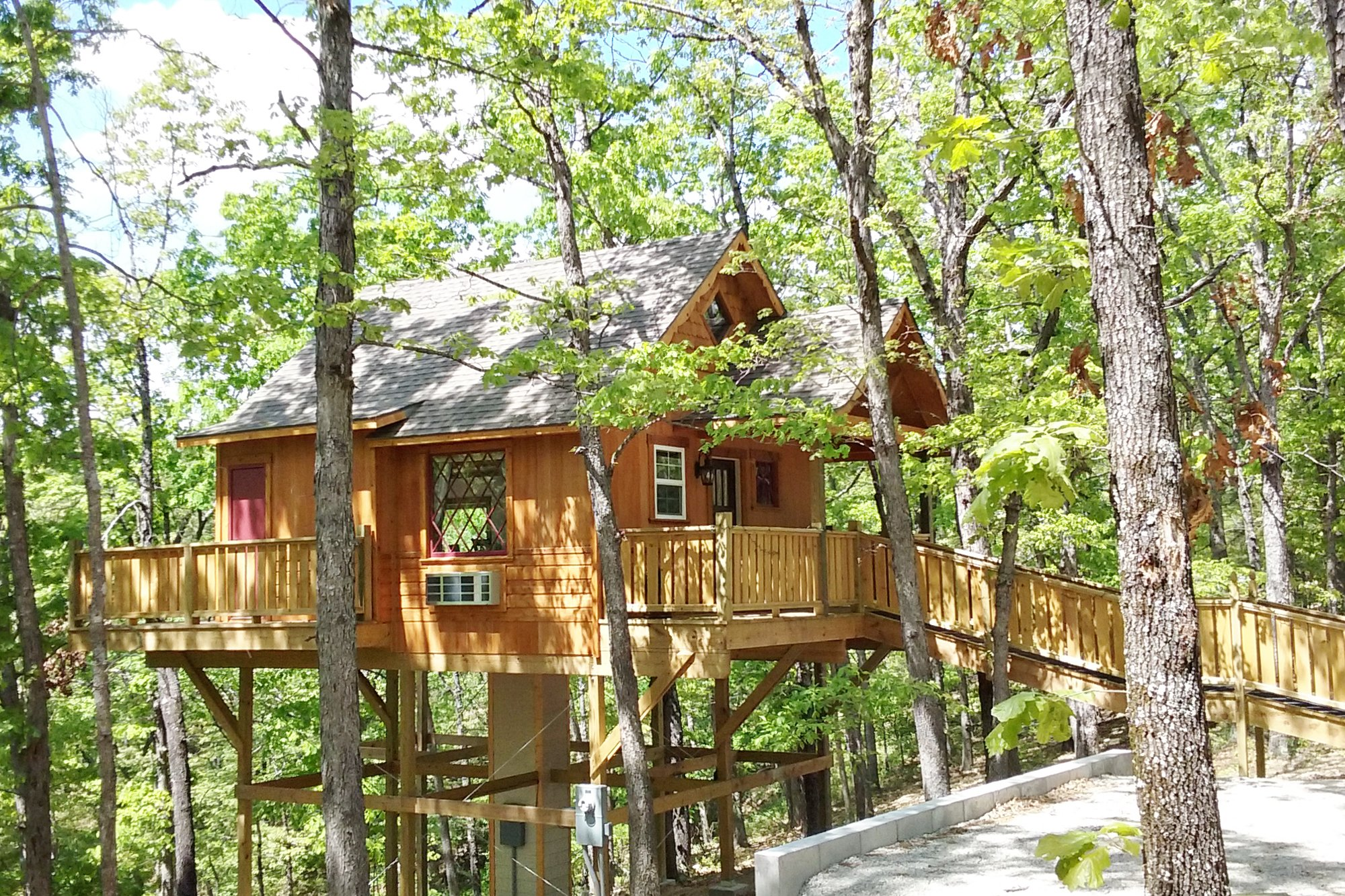 treehouse in the woods with long pathway