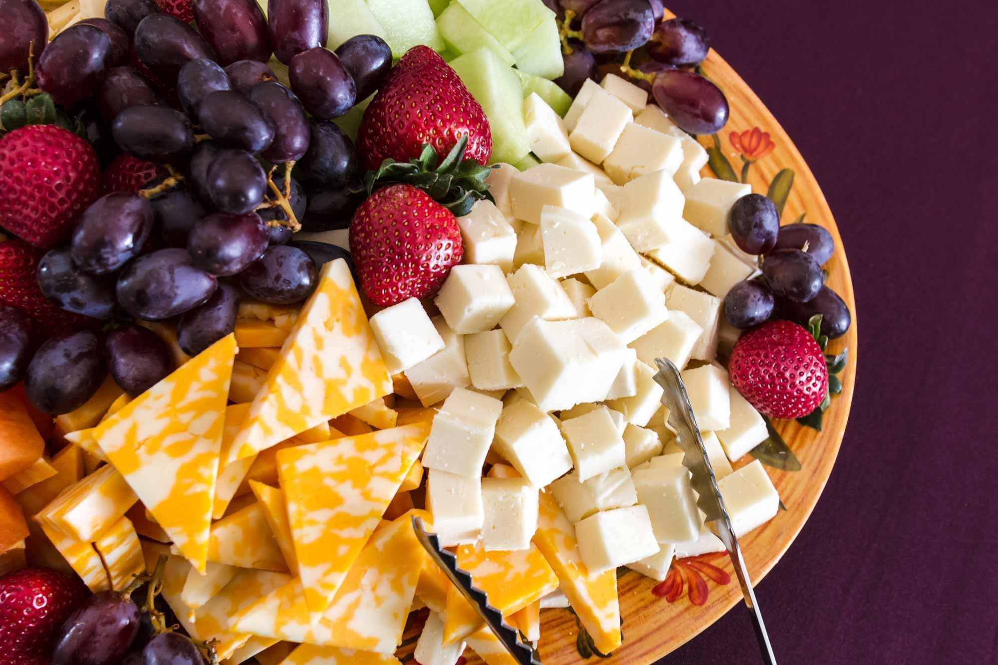Cheese Platter with strawberries and grapes