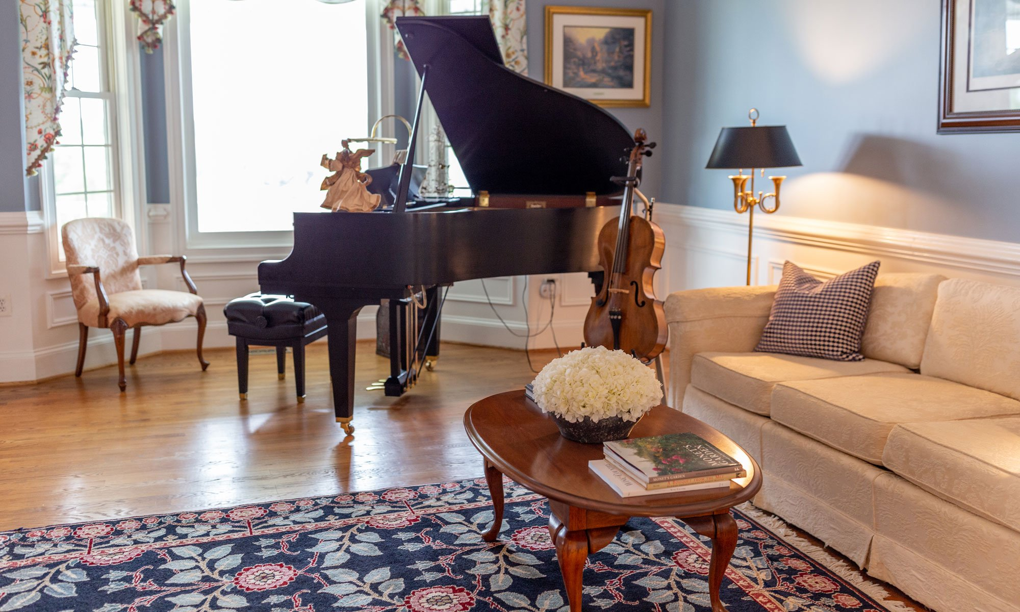 Living Room with Piano and Couches