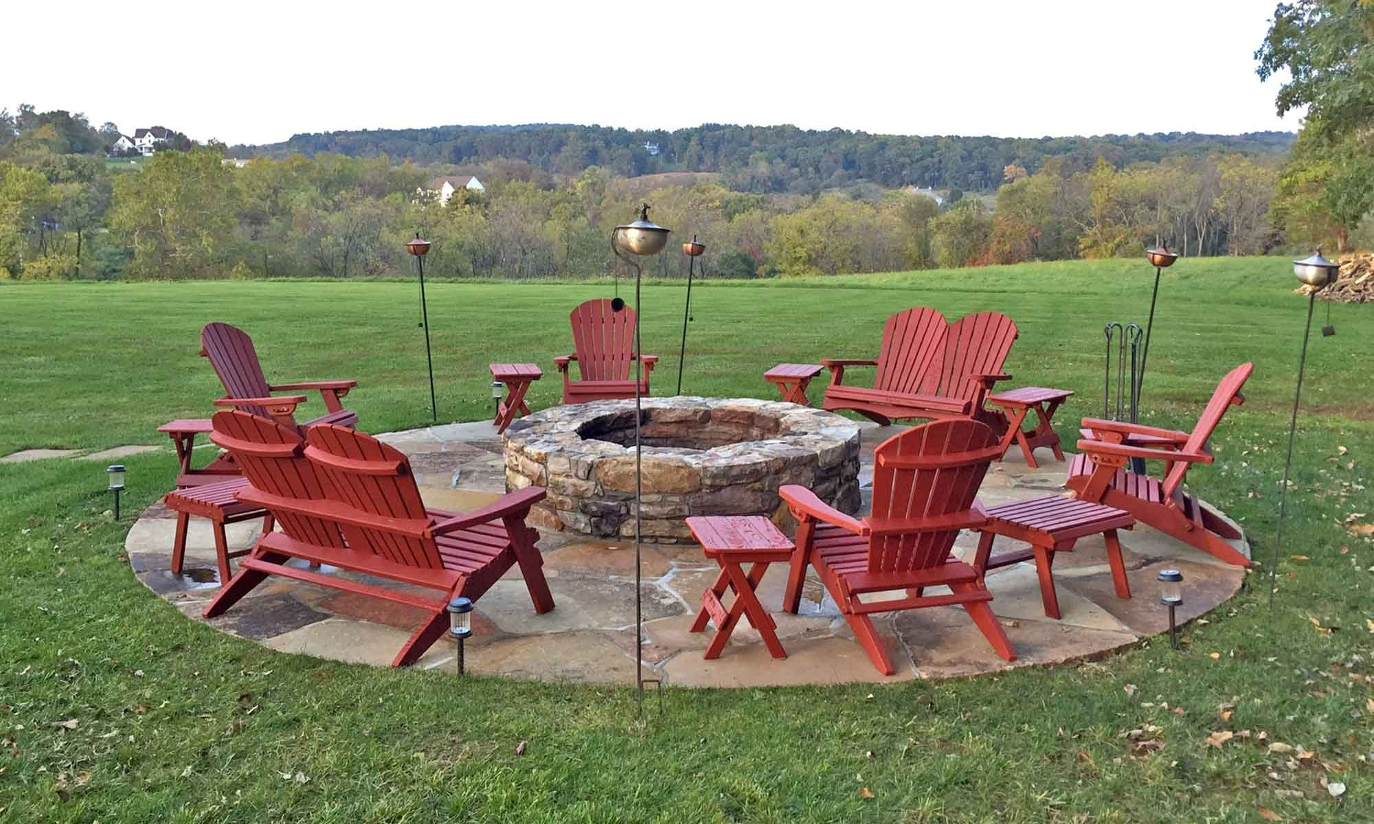 Chairs around firepit