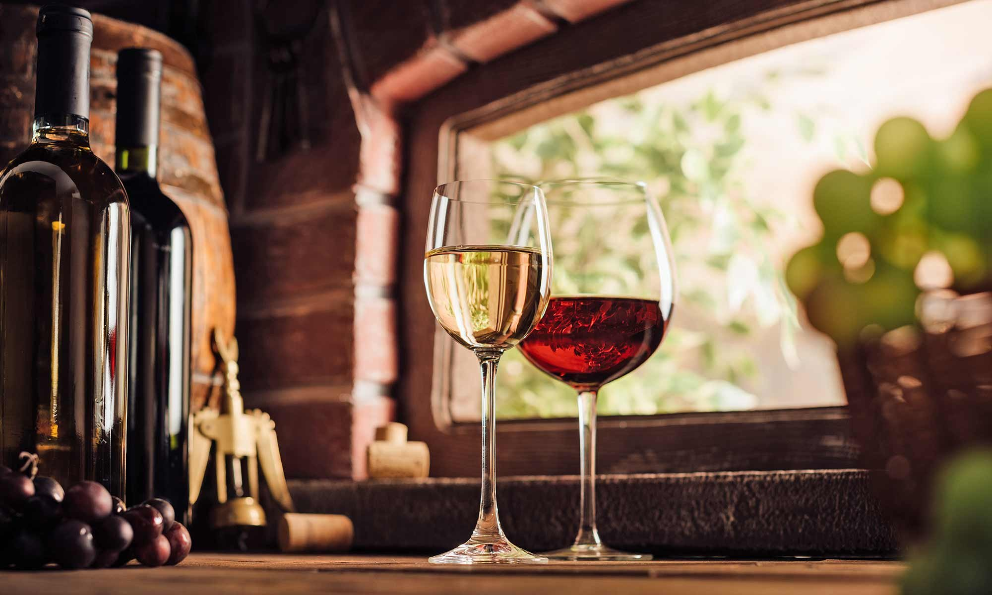 Glasses of white and red wine in windowsill