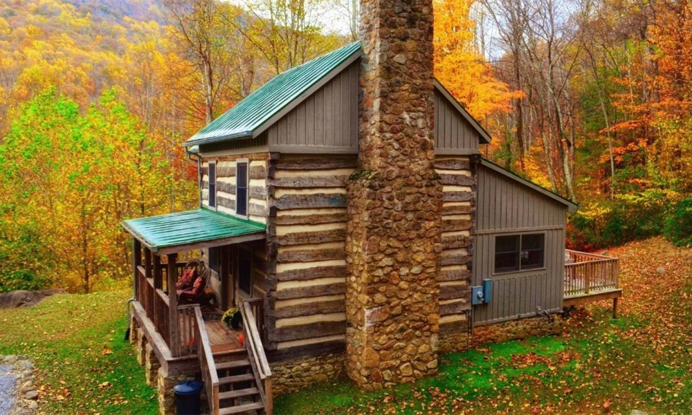 cabin with stone fireplace