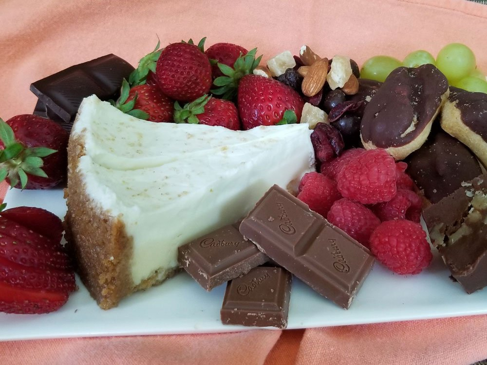 Chocolate and fruit desert plate