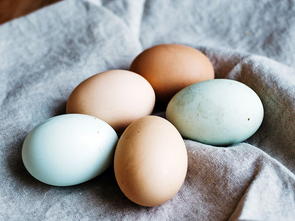 Several brown and greenish eggs