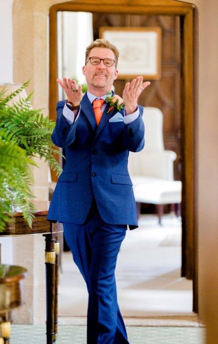 Sherwood in a blue tuxedo