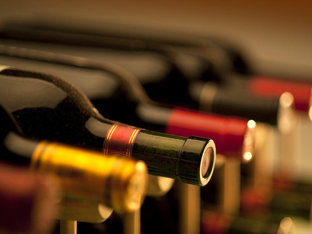 Bottles of wine lined up