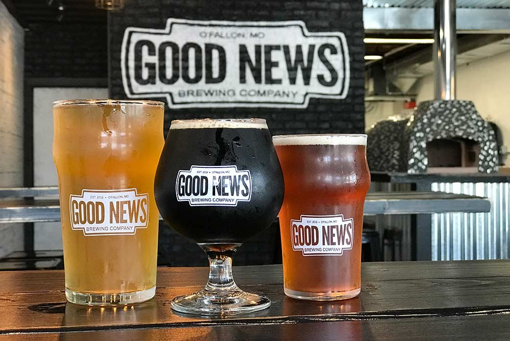 Beer Glasses Labeled Good News Brewery