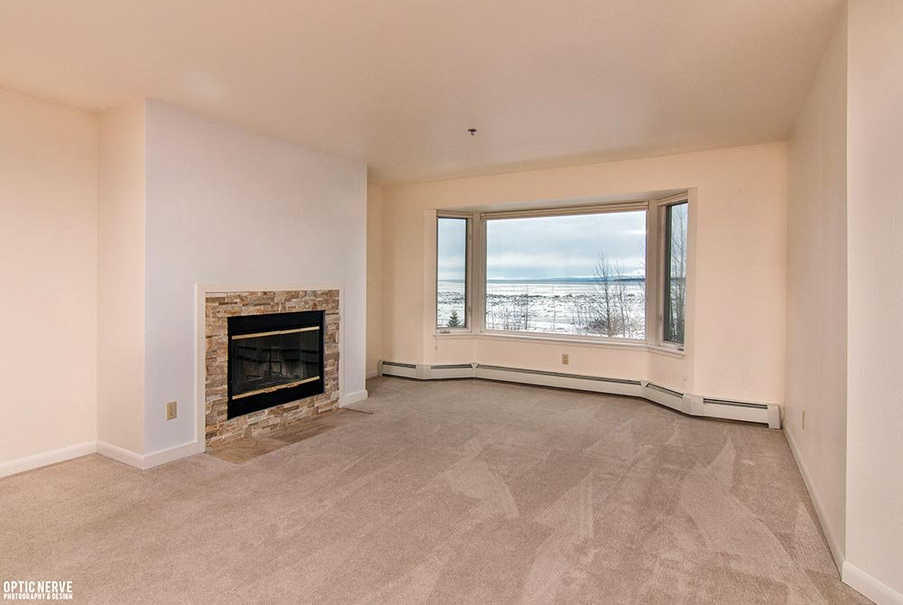 empty living space with fireplace