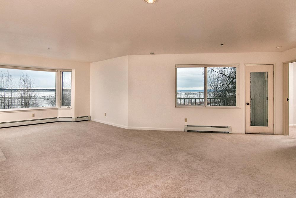 empty living space with windows