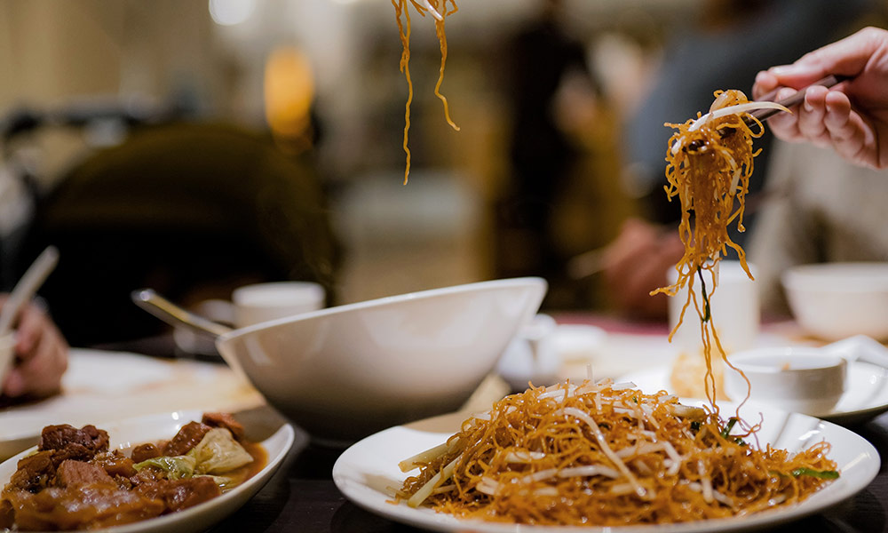 Plate of fried noodles
