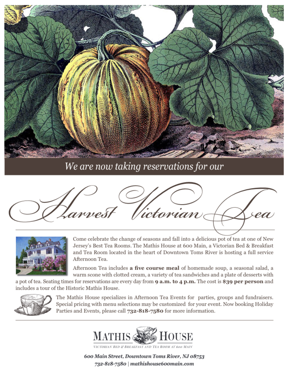 victorian hand-drawn pumpkin tea advertisment